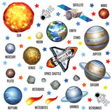 Colourful space set depicts shuttle, astronaut, planets orbiting earth. All wall stickers shown on white background.