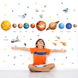 Solar system wall stickers set shown stuck on boys bedroom wall.