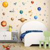 Solar system wall stickers set shown stuck on boys space theme bedroom wall.