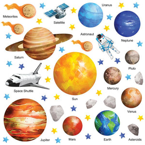 Solar system wall stickers set depicts watercolour style planets, rockets, stars orbiting earth in space on white background.