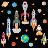 Seven grey blue space rocket wall stickers blasting away from earth into space. Rocket scene on black background.