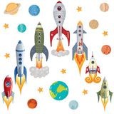 Seven grey blue space rocket wall stickers blasting away from earth into space. Rocket scene on white background.