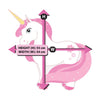 Picture depicts measurements for the standing pink unicorn.
