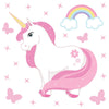 Unicorn wall stickers set has a pink colour haired unicorn standing among stars, butterflies, rainbows on white background.