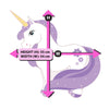 Picture depicts measurements for the standing purple unicorn.