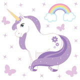 Unicorn wall stickers set has a purple colour haired unicorn standing among butterflies, stars, rainbows on white background.