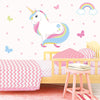 Unicorn wall stickers set has a rainbow colour haired unicorn standing among stars, butterflies, rainbows on a bedroom wall.