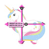 Picture depicts measurements for the standing rainbow unicorn.