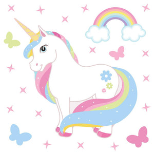 Unicorn wall stickers set has a rainbow colour haired unicorn standing among stars, butterflies, rainbows on white background.