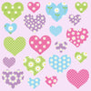 Heart wall sticker set depicts 20 summer colour themed heart designs, 2 different sizes in set on pink background.