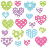 Heart wall sticker set depicts 20 summer colour themed heart designs, 2 different sizes in set on white background.