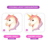 Picture depicts 2 possible layout configurations. Do not add horn creates horse, add horn to create unicorn.