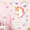 Unicorn wall stickers set has a twinkly eyed unicorn placed among hearts, butterflies, stars, rainbows on a wall above draws XL.