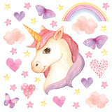Unicorn wall stickers set has a twinkly eyed unicorn placed among hearts, butterflies, stars, rainbows on white background.