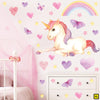 Unicorn wall stickers set has a twinkly eyed sitting unicorn among heart, butterflies, stars, rainbows on a wall above draws XL.