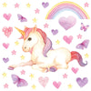 Unicorn wall stickers set has a twinkly eyed sitting unicorn among heart, butterflies, stars, rainbows on white background.