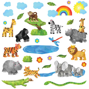 Jungle safari wall sticker scene depict monkey, zebra, lion an elephants. All smiling looking playful on white background.