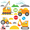 Wall sticker set depicts a construction site, 4 yellow vehicles moving sand among no entry an go signs on white background.
