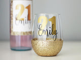 Personalised Birthday Glitter Stemless Wine Glass
