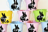 Blue personalised Easter Bucket - Rabbit Silhouette