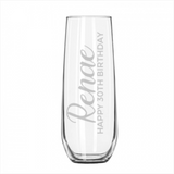 Etched Personalised Stemless Champagne Flute - Name & Title, Vertical