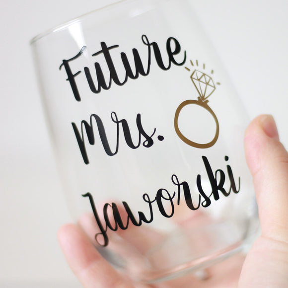 Future Mrs Stemless Wine Glass
