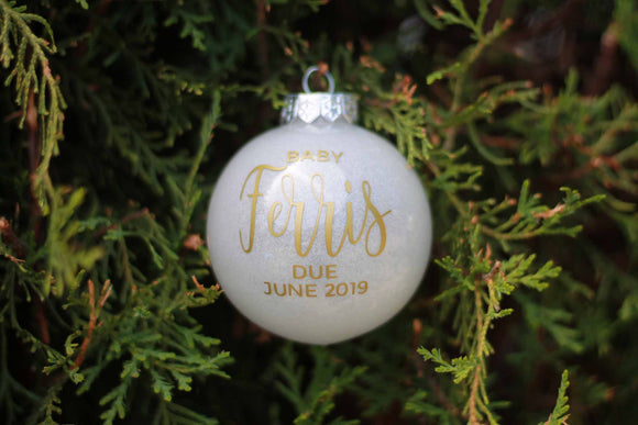 Pregnancy Announcement Christmas Bauble