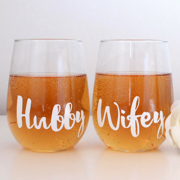 Hubby & Wifey Stemless Wine Glass Set