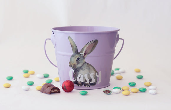 Personalised Easter Bucket - Watercolour Rabbit
