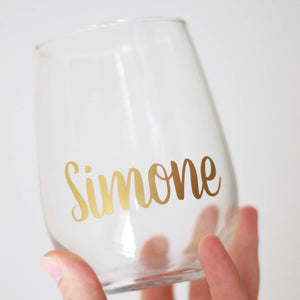 Personalised 503ml Stemless Wine Glass | Font 2
