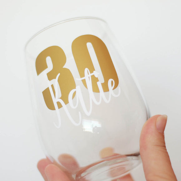 Personalised Birthday Stemless Wine Glass