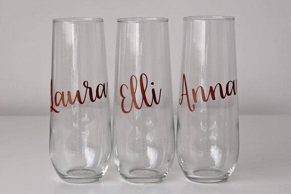 Vinyl Personalised Stemless Champagne Flute - Name Only, Angle