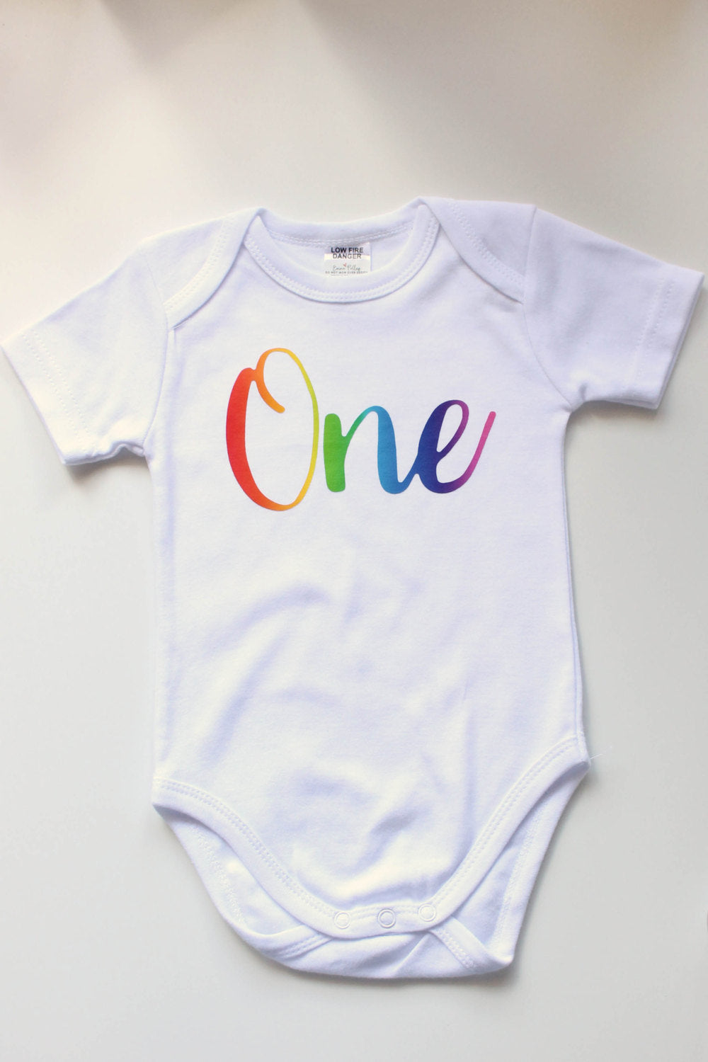 Rainbow One Baby Birthday First Outfit Cake Smash