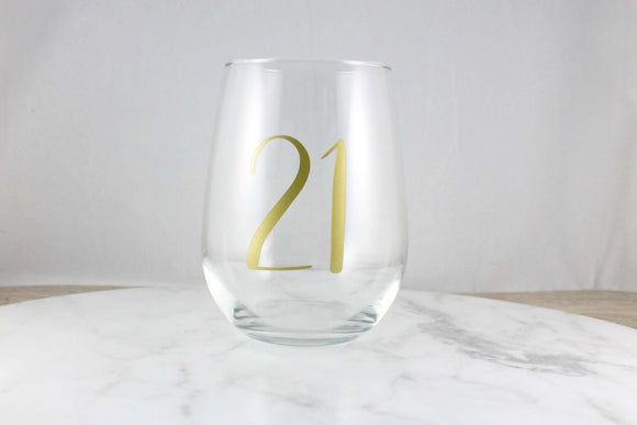 PERSONALISED Birthday gift, 21st birthday, 30th birthday, Age birthday, Stemless Wine Glass