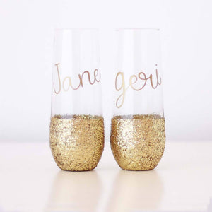 Personalised Glitter Wine Glass Birthday Gift For Her 18th