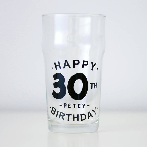 Personalised 30th Birthday Pint Glass, birthday gift for him, personalised any age glass, 30th beer glass, personalised birthday gift