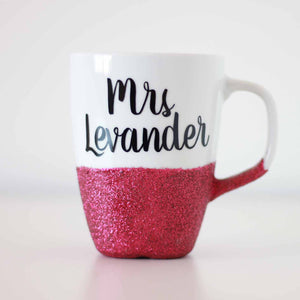 Personalised Glitter Coffee Mug Teachers Gift Secret Santa Birthday
