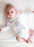 Love, Hope & Science Baby Bodysuit