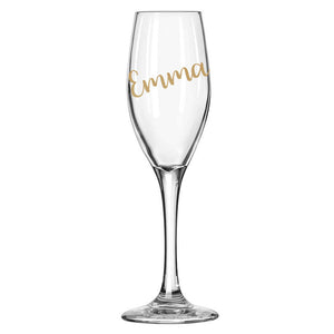 Gold Personalised Stemmed Champagne Flute