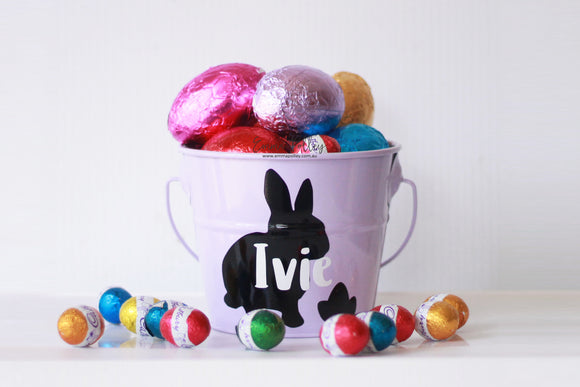 Purple personalised Easter Bucket - Rabbit Silhouette