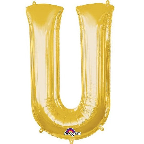 "GOLD LETTER ""U"" BALLOON"