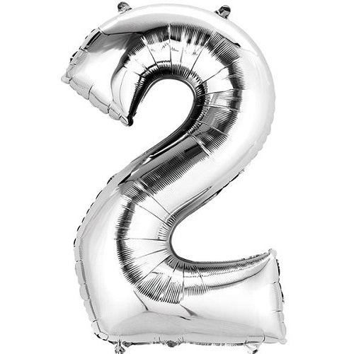 "SILVER NUMBER ""2"" BALLOON"