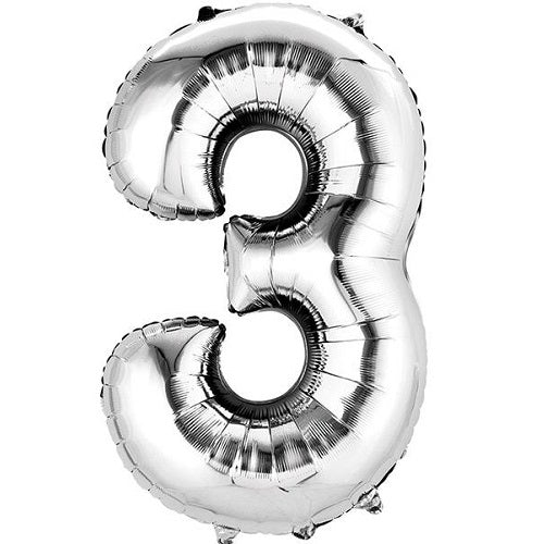 "SILVER NUMBER ""3"" BALLOON"