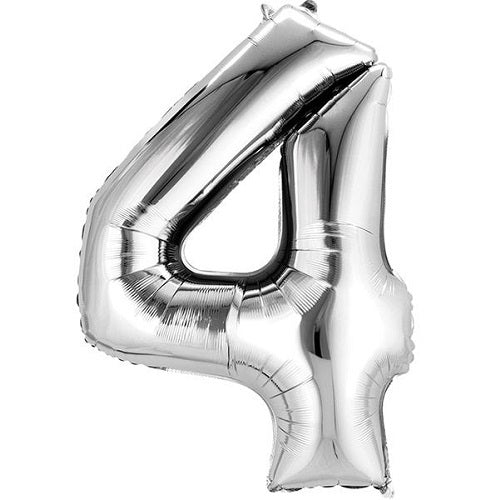 "SILVER NUMBER ""4"" BALLOON"