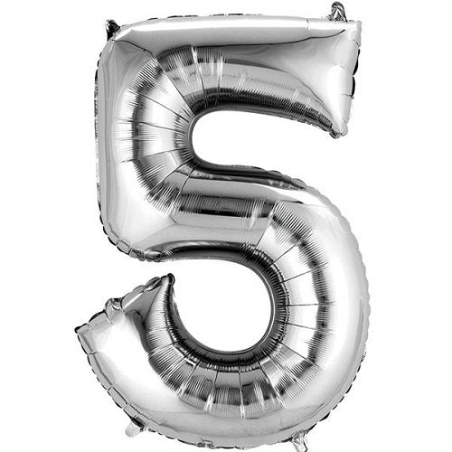 "SILVER NUMBER ""5"" BALLOON"