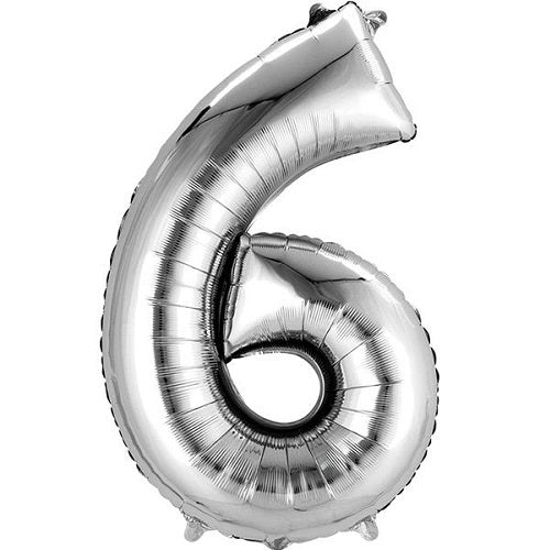 "SILVER NUMBER ""6"" BALLOON"