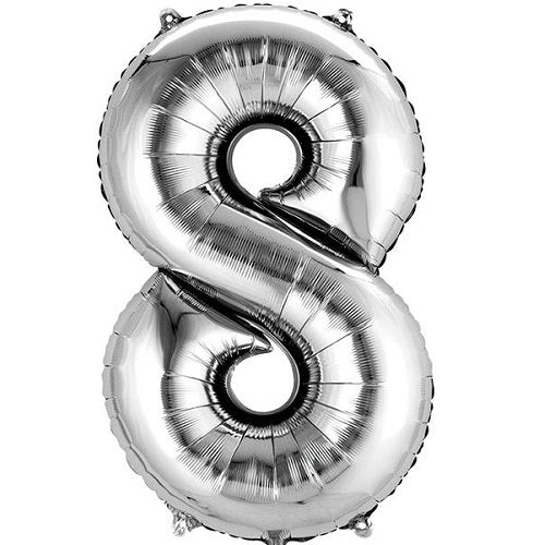 "SILVER NUMBER ""8"" BALLOON"