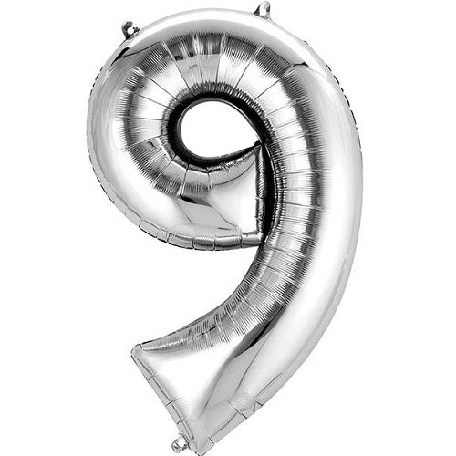 "SILVER NUMBER ""9"" BALLOON"