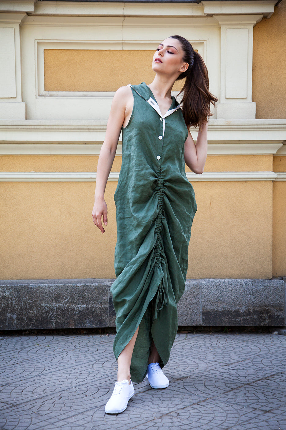 Hooded Oversized Linen Dress