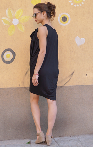 Open Back Combo Black Dress
